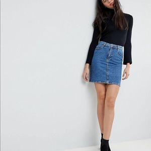 Asos DENIM tall denim original high waisted skirt